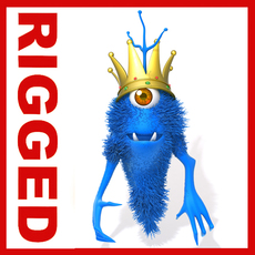 Monster King Rigged Cartoon 3D Model