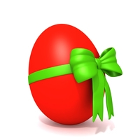 Easter egg with bow 3D Model