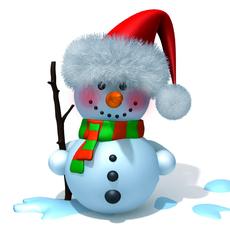 Snowman cartoon 3D Model