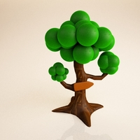 Tree Cartoon 3D Model