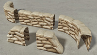 Sandbags Wall Construction Kit 3D Model