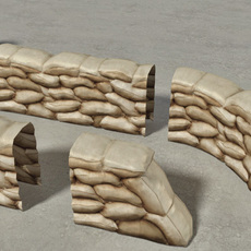 Sandbags Wall Construction Kit 3D Model