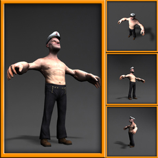 Popeye 3d cartoon character 3D Model