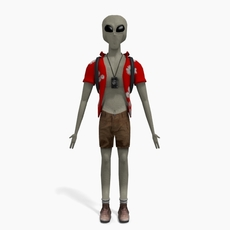 Grey Alien Tourist 3D Model
