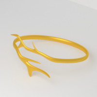 Free Branch Golden Ring 3D Model