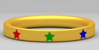 Free Golden Ring with Gem Stars 3D Model