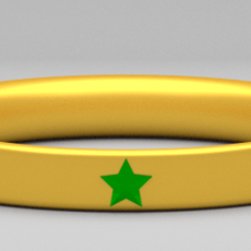 Golden Ring with Gem Stars 3D Model