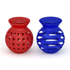 Red & Blue Vases 3D Model