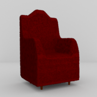 Free Red Armchair 3D Model