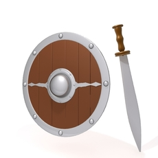 Medieval shield and sword 3D Model