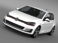 VW Golf GTI 3door 2015 3D Model