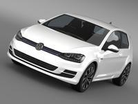 VW Golf TDI BlueMotion 3 door 2015 3D Model