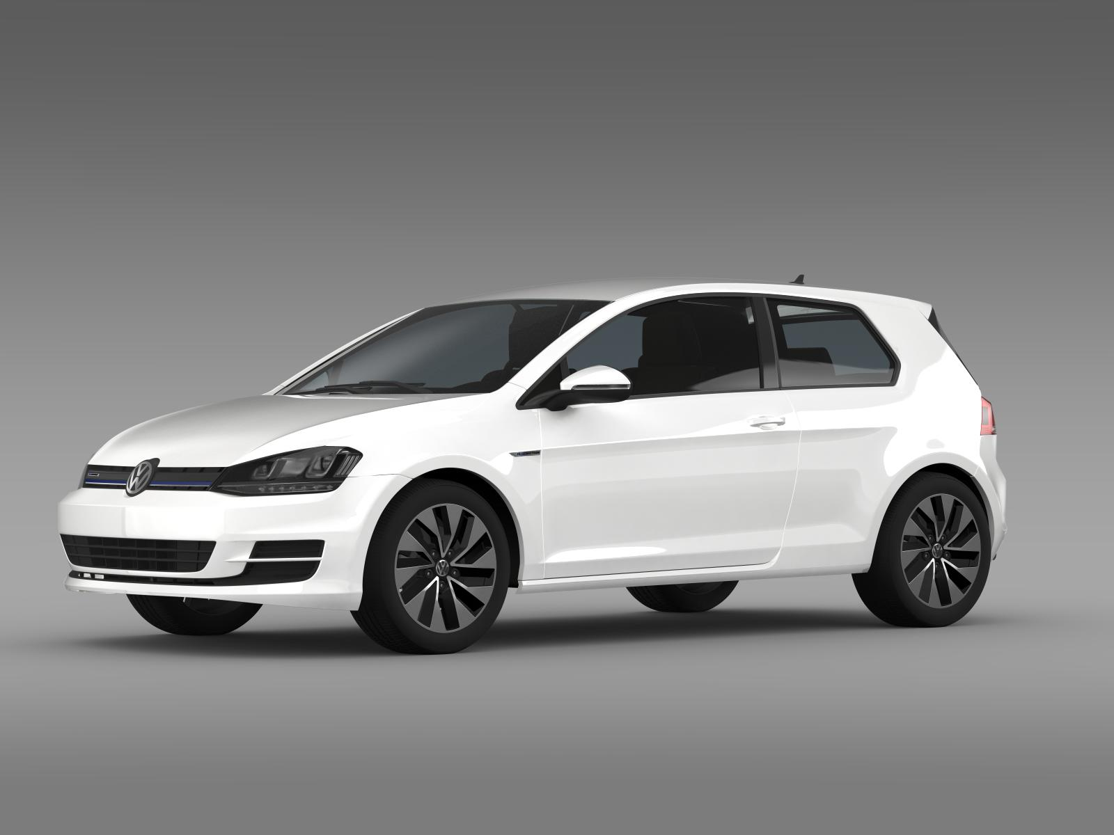 vw golf tdi bluemotion 3 door 2015 3d model. Black Bedroom Furniture Sets. Home Design Ideas
