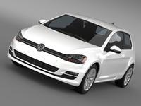 VW Golf TSI BlueMotion 3door 2015 3D Model