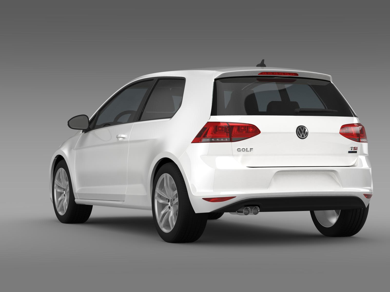 vw golf tsi bluemotion 3door 2015 3d model. Black Bedroom Furniture Sets. Home Design Ideas