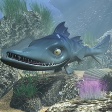 cartoon Barracuda Fish RIGGED 3D Model