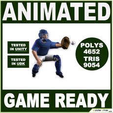 White Baseball Catcher 9054 tris 3D Model