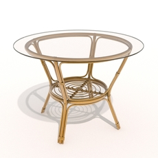 Rattan-glass table 3D Model