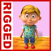 Boy cartoon rigged 05 3D Model