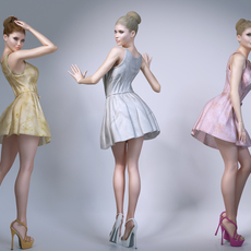 Beautiful blond woman wearing a skirt 3D Model