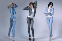 Girls wear jeans 3D Model
