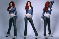 Pretty lady wearing leather pants 3D Model