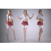 Girls wearing a school uniform 3D Model
