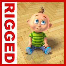 Boy cartoon rigged 01 3D Model