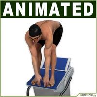 White Swimmer CG 3D Model