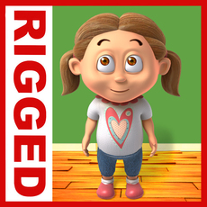 Girl baby cartoon rigged 03 3D Model