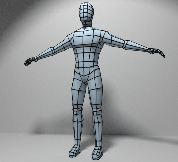 Male Character Modeling In Blender : Low poly base mesh of a male body for sculpting d model