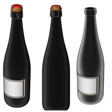 Wine black bottle 750 ml - 25,3 oz 3D Model
