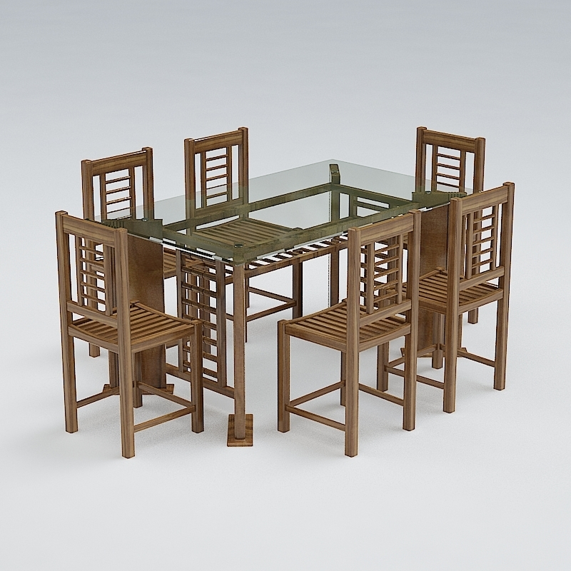 Chair and Table Set 09 3D Model