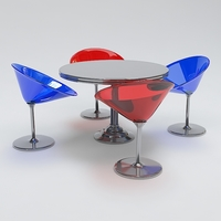 Modern Round Table and Chair Set 3D Model