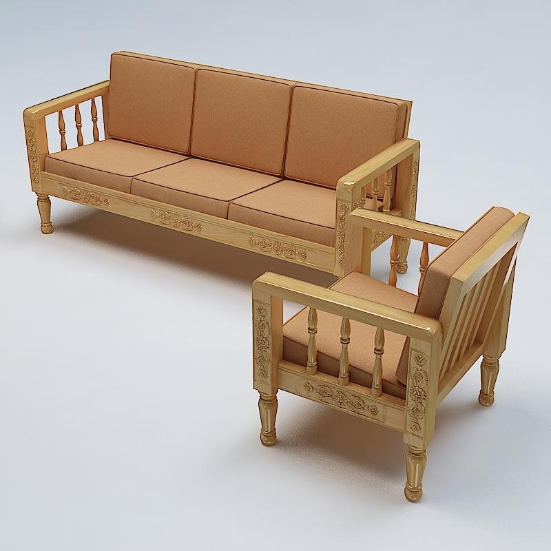Sofa set wooden 3d model for Divan furniture models