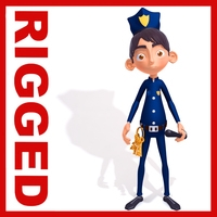 Policeman cartoon rigged 3D Model