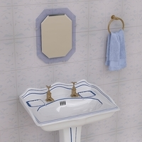 Stylish Pedestal Wash Basin and Props 3D Model