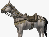 White horse with armor 3D Model