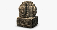 Ancient angkor stone head 3D Model