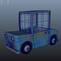 Blue Car Cartoon 3D Model