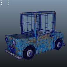 Blue Car Cartoon 3D Model