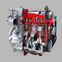 Engine cutaway 3D Model