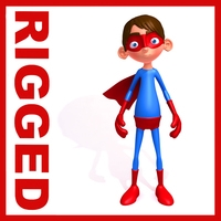 Superhero Cartoon Rigged 3D Model