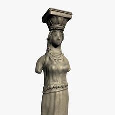Caryathic pillar column 3D Model