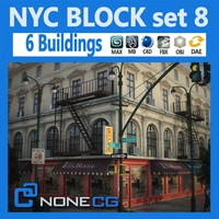 Free NYC Block Set 8 3D Model