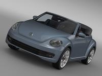 VW Beetle Cabriolet Denim Concept 2015 3D Model