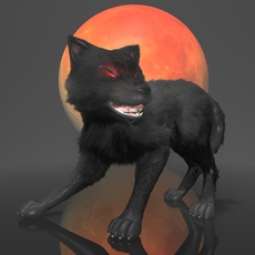 Dark Wolf Rigged 3D Model