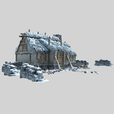 A snow covered house 3D Model