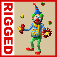 Clown cartoon rigged 02 3D Model