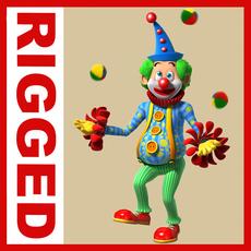 Clown cartoon rigged 02 3D Model